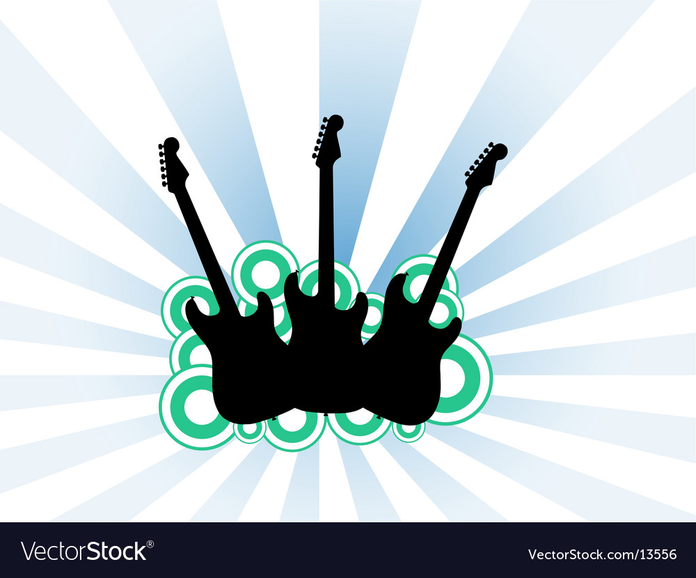 Three guitars vector