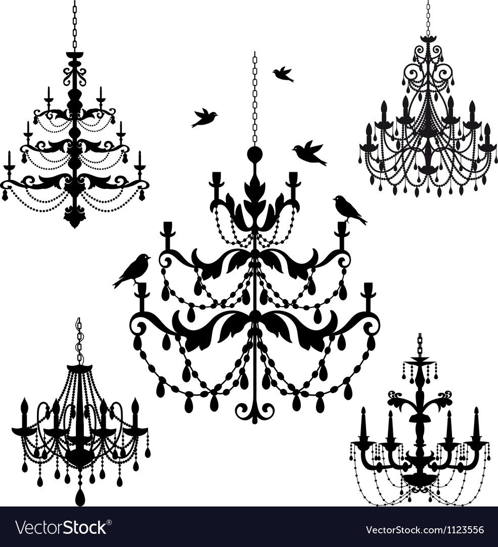 Vintage chandelier set vector