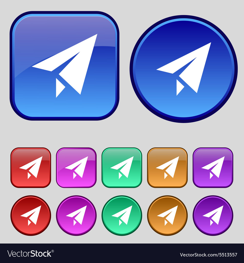 Paper airplane icon sign a set of twelve vintage vector