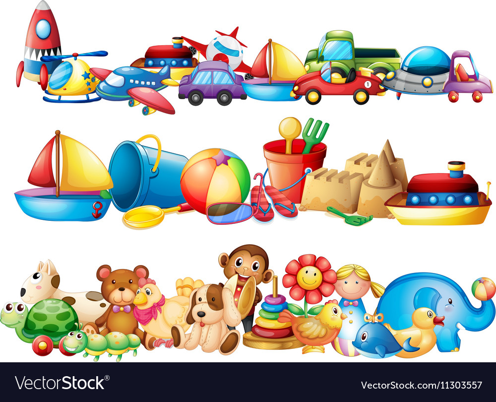 Set of different types of toys vector