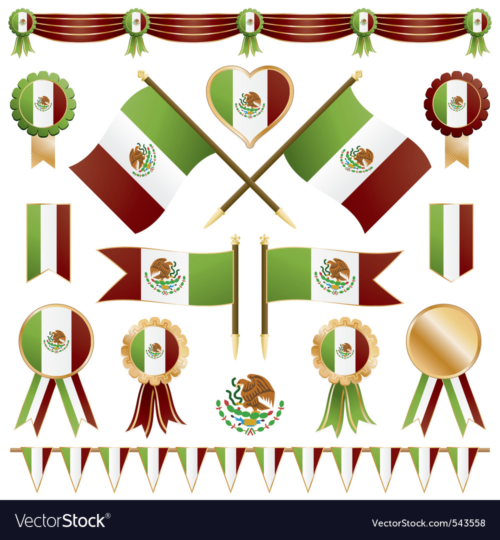 Mexico ribbons flags and rosettes vector
