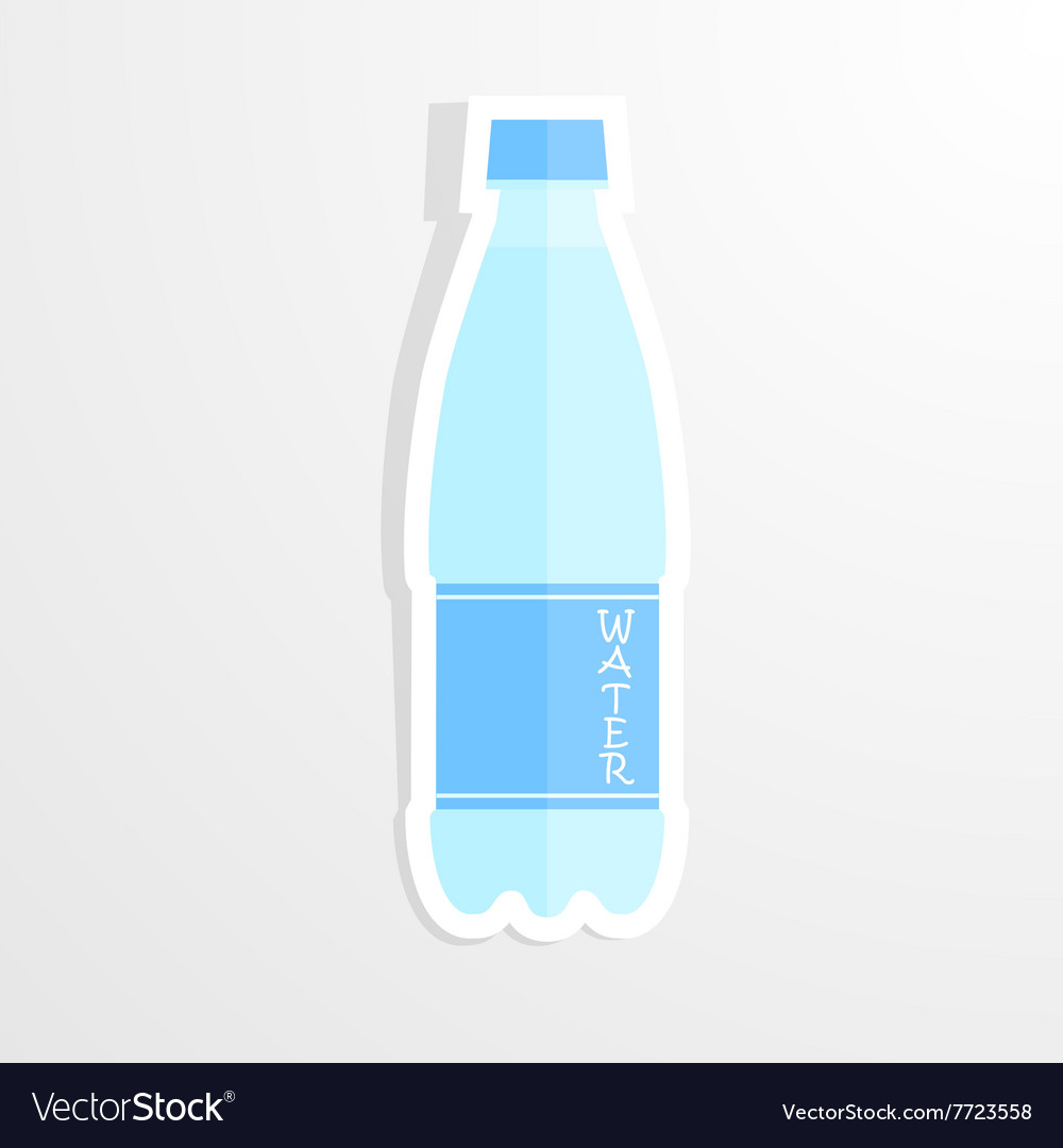 Realistic paper sticker water bottle isolated vector