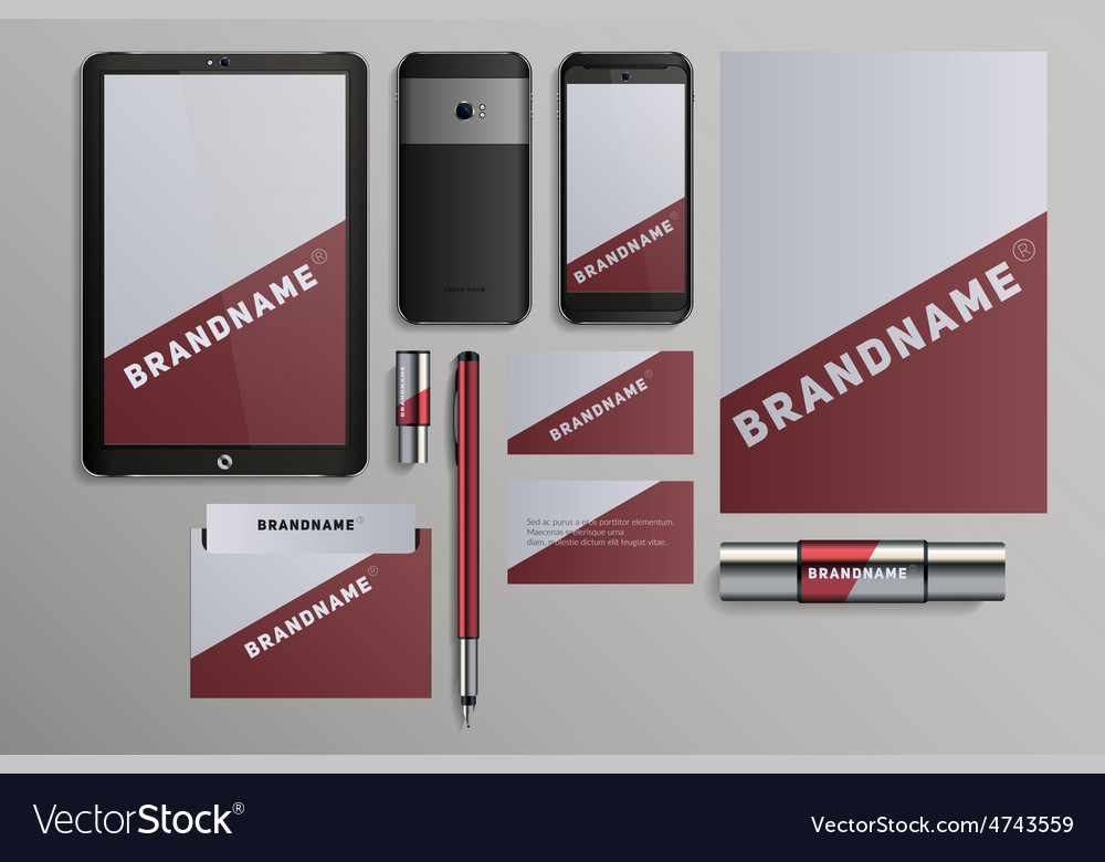 Realistic corporate identity business set design vector