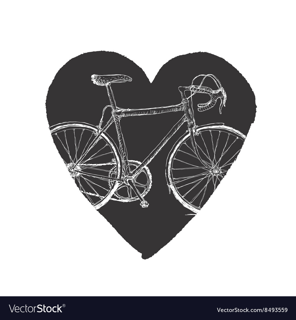 Vintage bicycle in heart vector