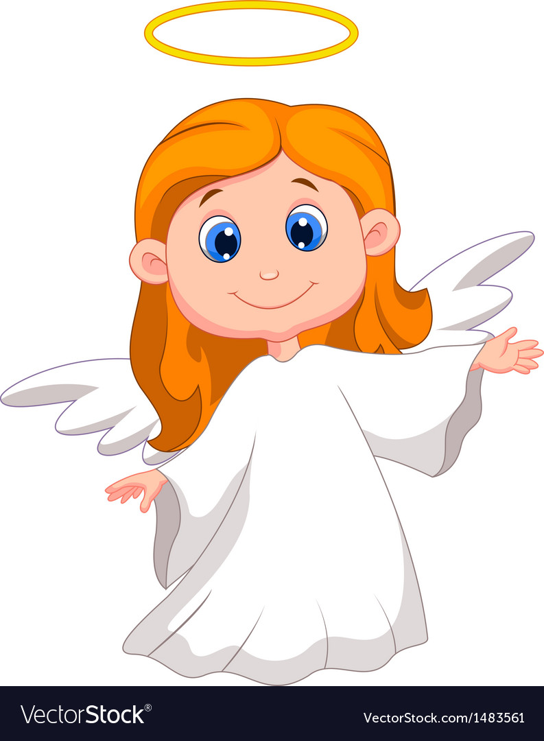 Cute angel cartoon vector