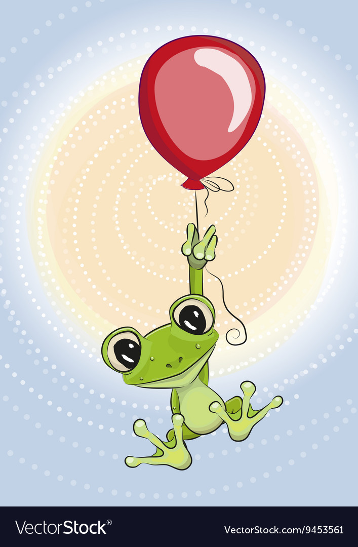 Frog with balloon vector