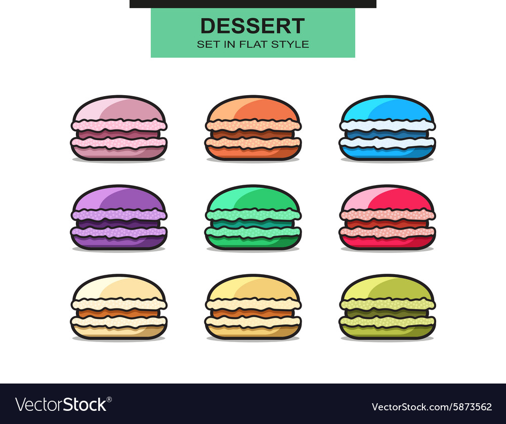 Set of 9 colorful french macaroons sweet dessert vector