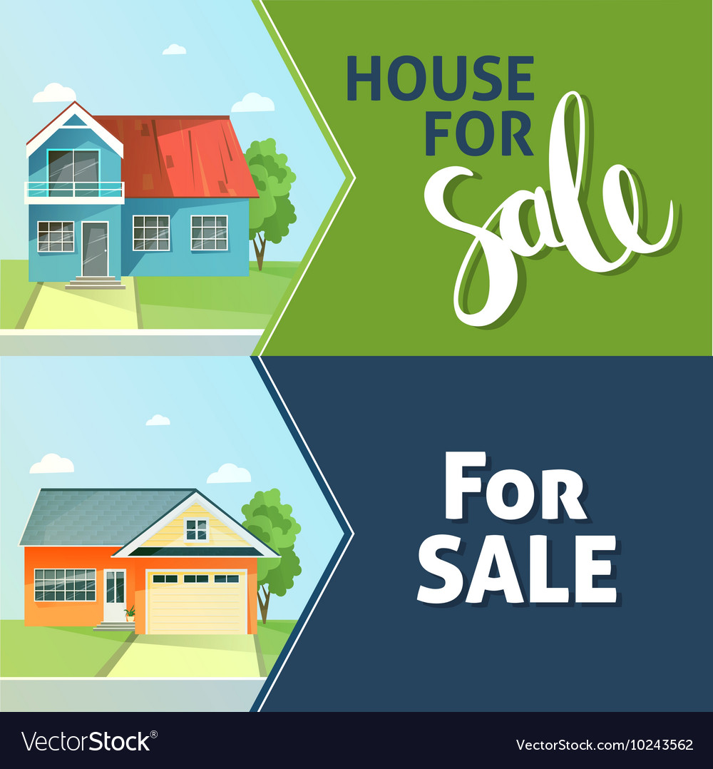 Set of banners property sale family house flat vector