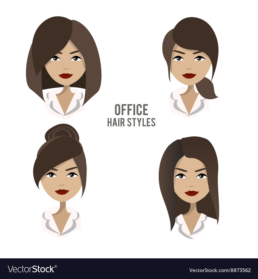 Set of hair styles and hairdos for office vector