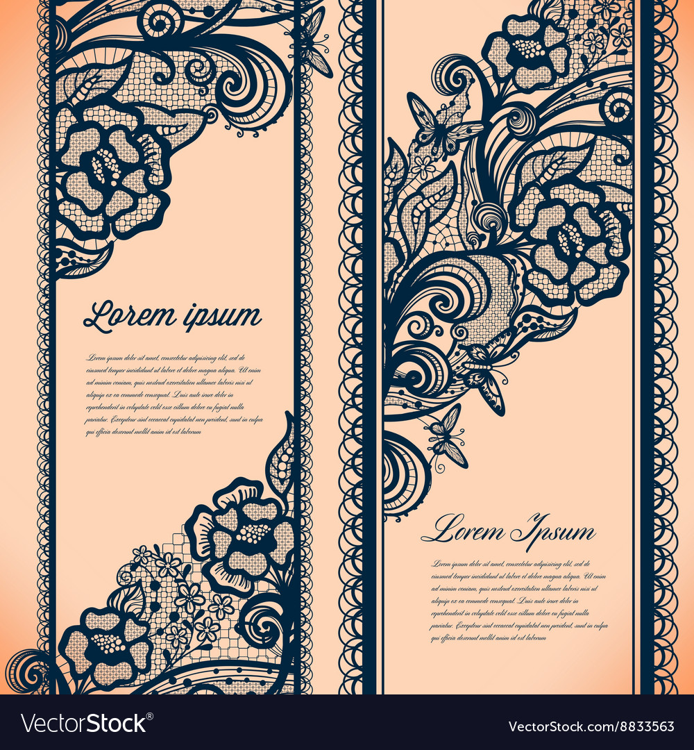 Abstract lace ribbon vertical banners vector