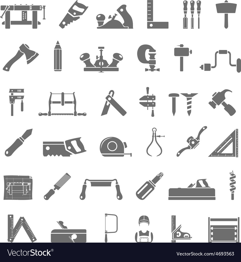 Black icons traditional woodworking vector