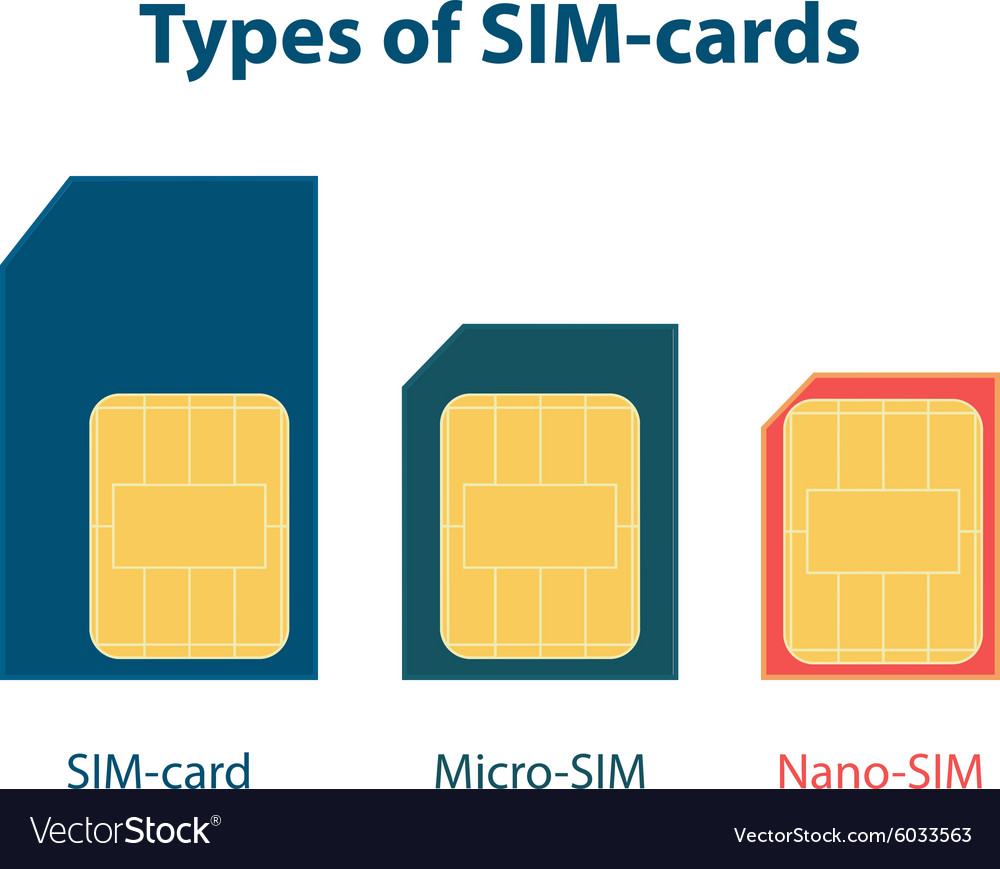 Set of three types sim cards vector