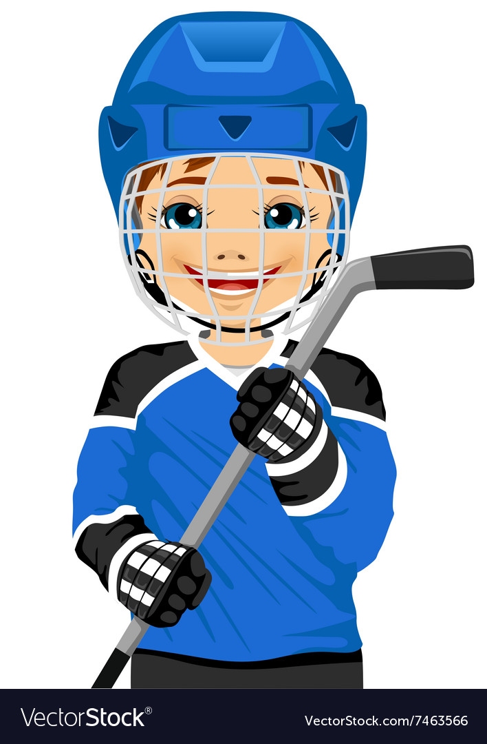 A young hockey player in uniform vector