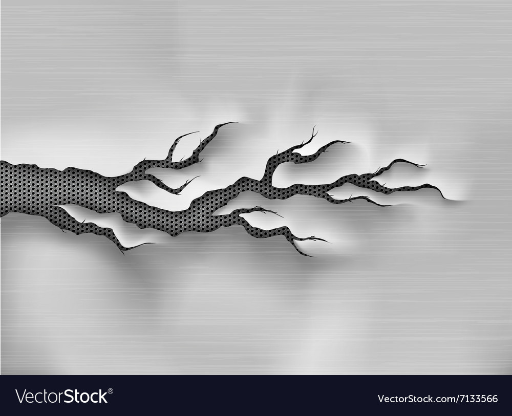 Crack in the metal cracked steel shade vector