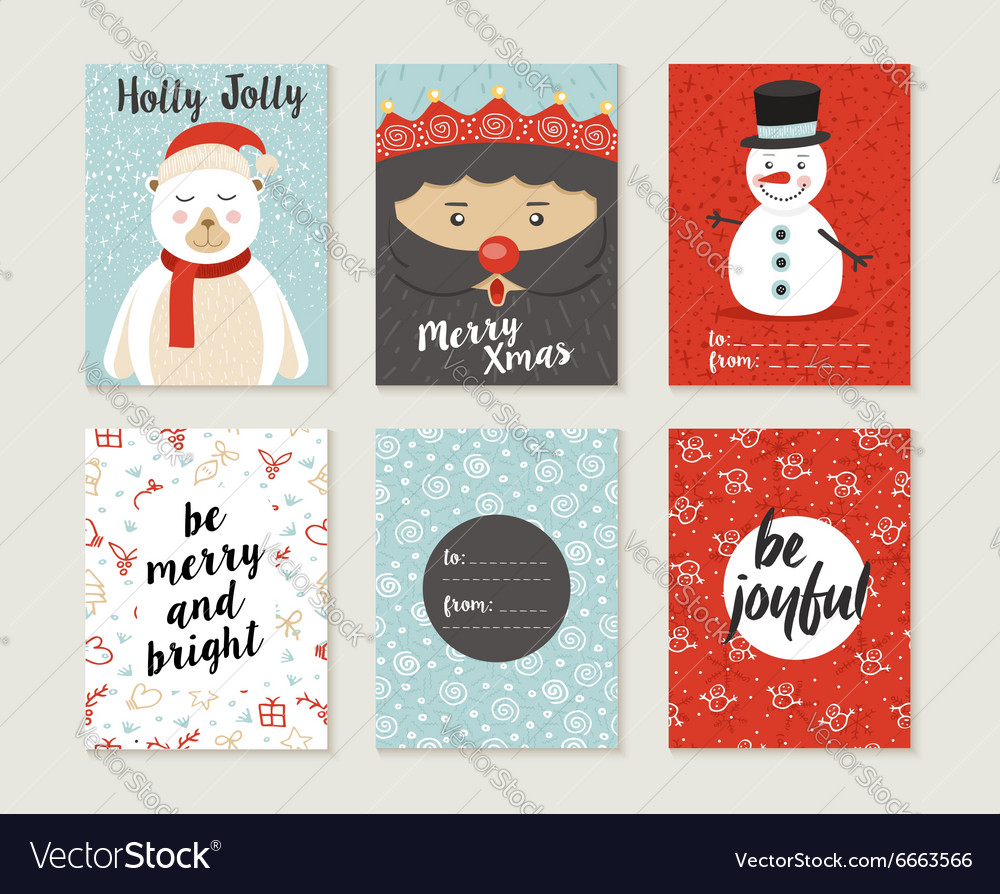 Merry christmas card set pattern retro cute bear vector