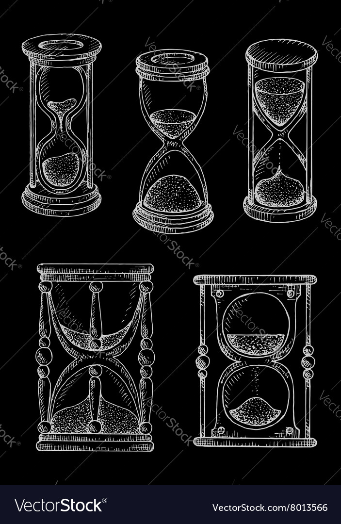 Vintage hourglasses chalk sketches set vector