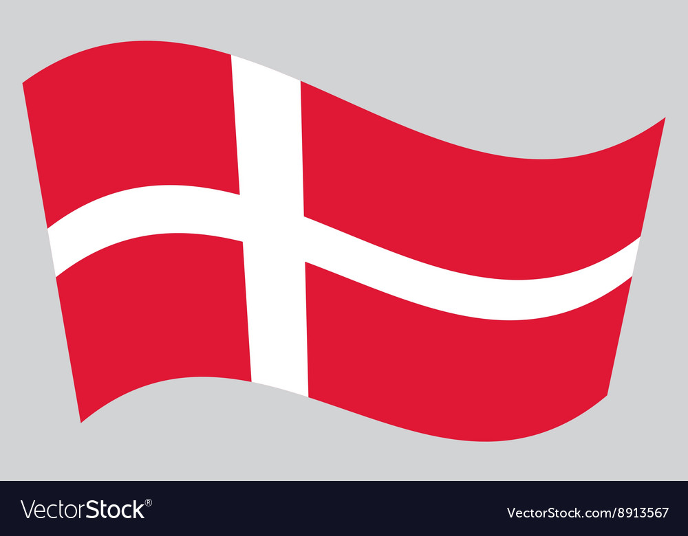Flag of denmark waving vector