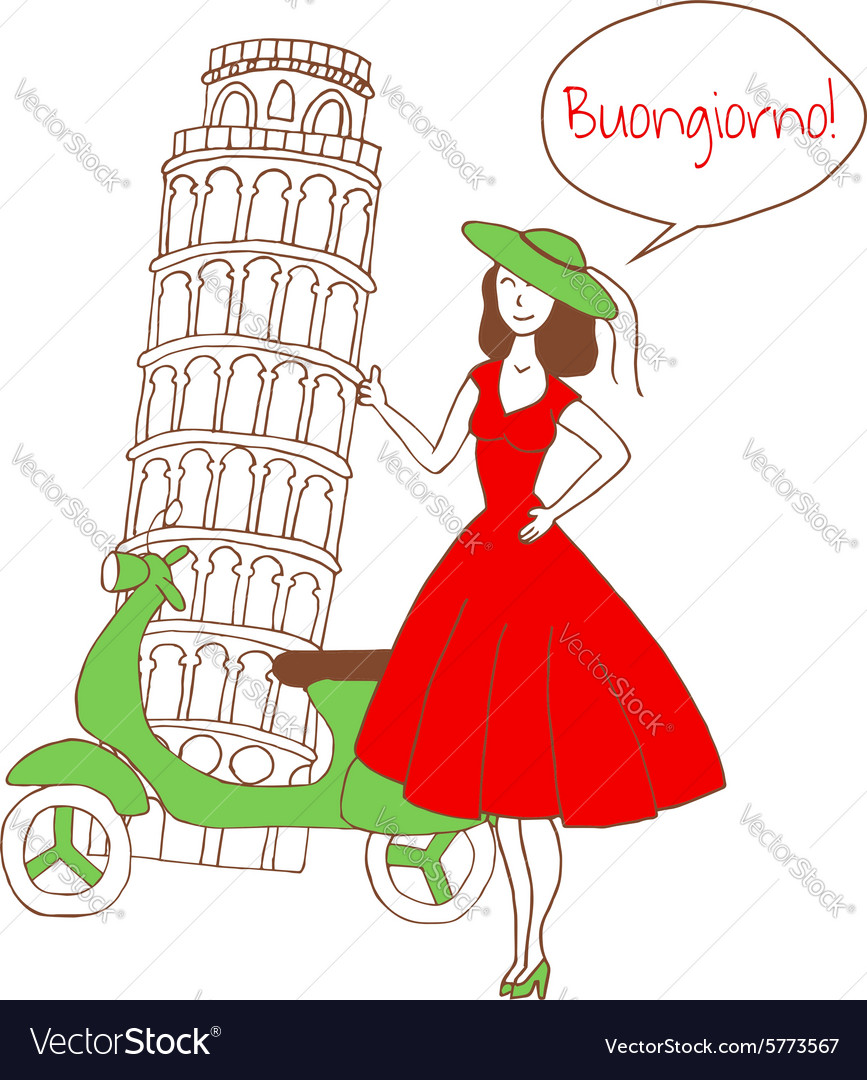Girl in italy vector