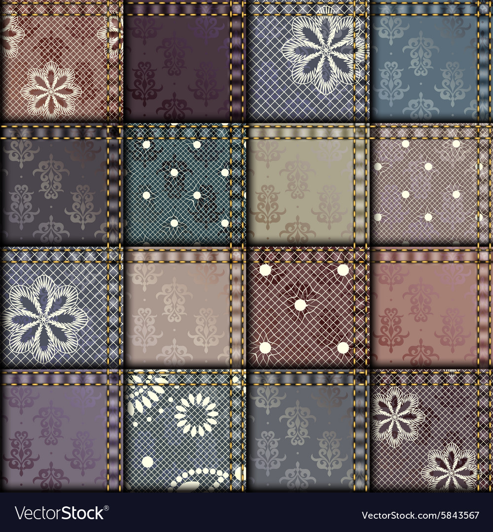 Patchwork of satin fabric vector