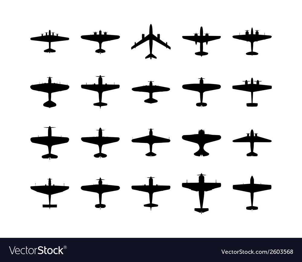 Airplanes silhouette set vector