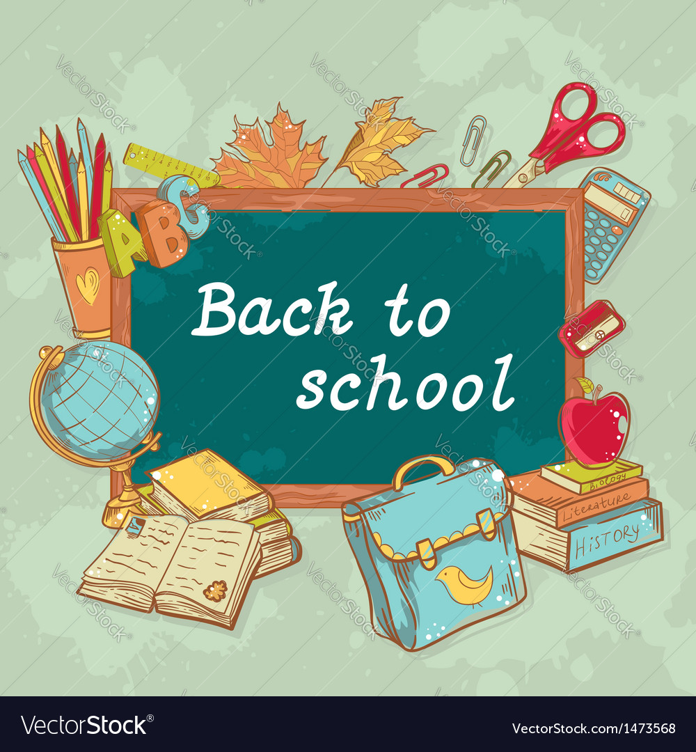 Back to school board card with various study items vector