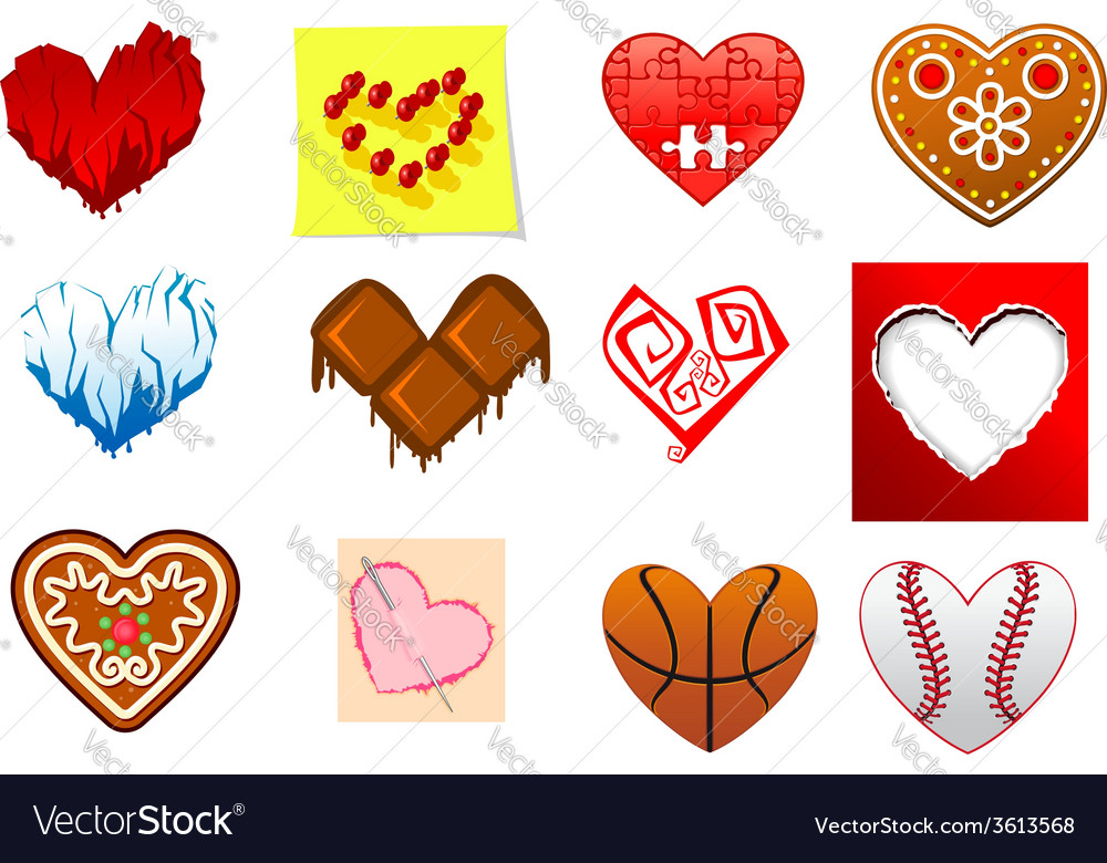 Colourful heart shapes set vector