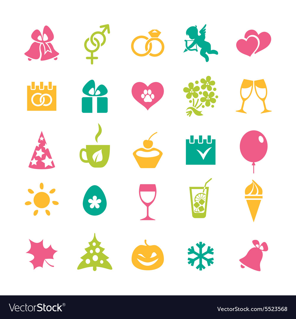 Set of 25 holidays icons vector