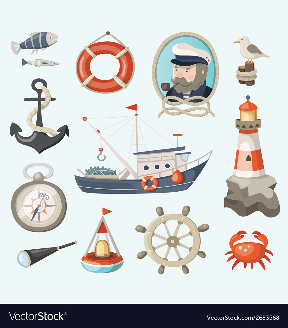 Set of fishing items vector