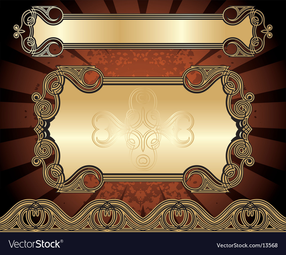 Set of golden frames vector