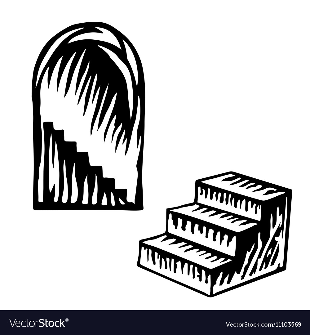Artistic symbol of a steps black and white steps s vector