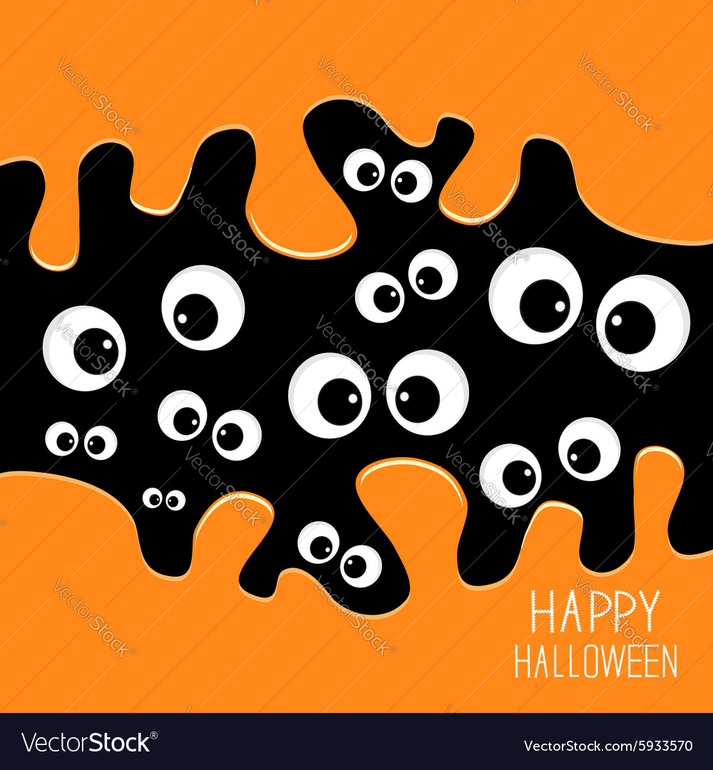 Eyes halloween card spooky background flat design vector