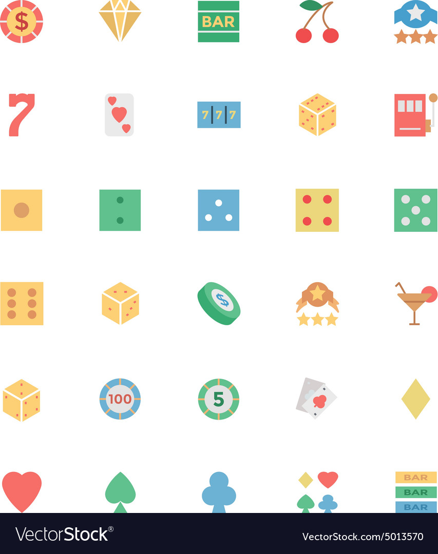 Flat casino colored icons 1 vector