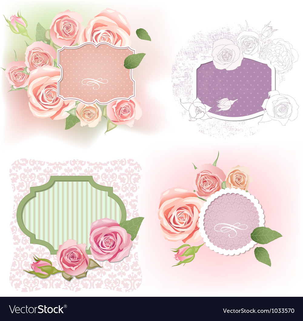 Greeting frames with roses vector