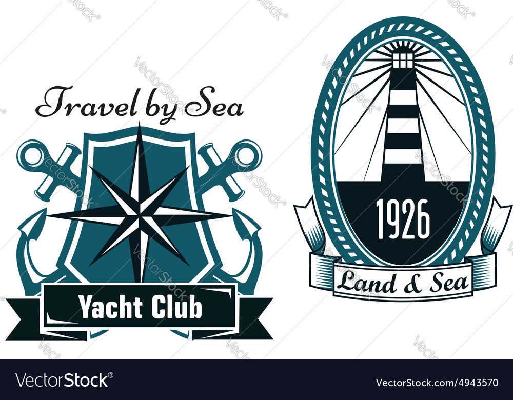 Marine emblems with lighthouse and compass vector
