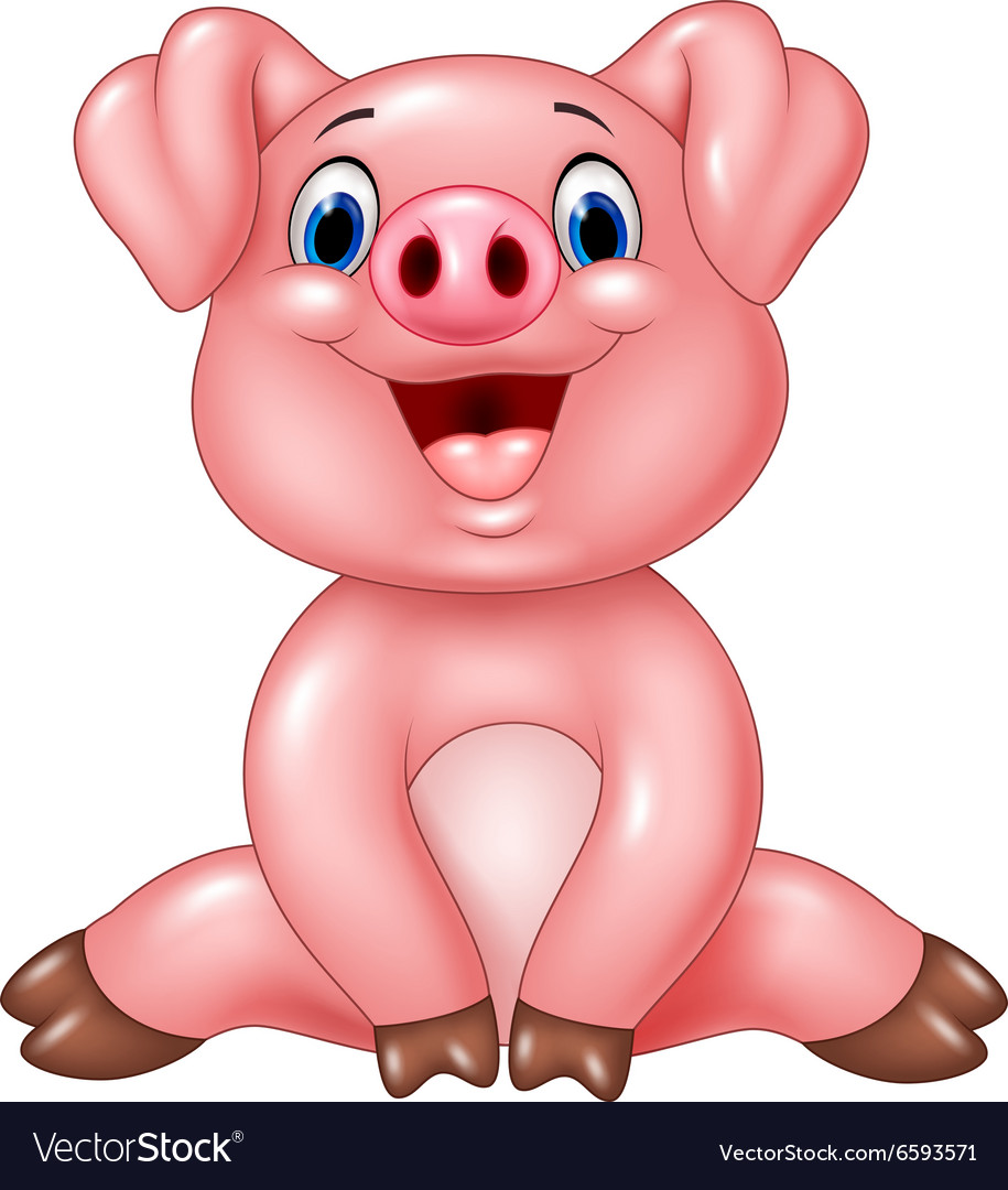 Cartoon adorable baby pig isolated vector