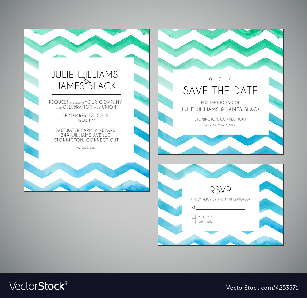 Set wedding invitation cards with watercolor vector