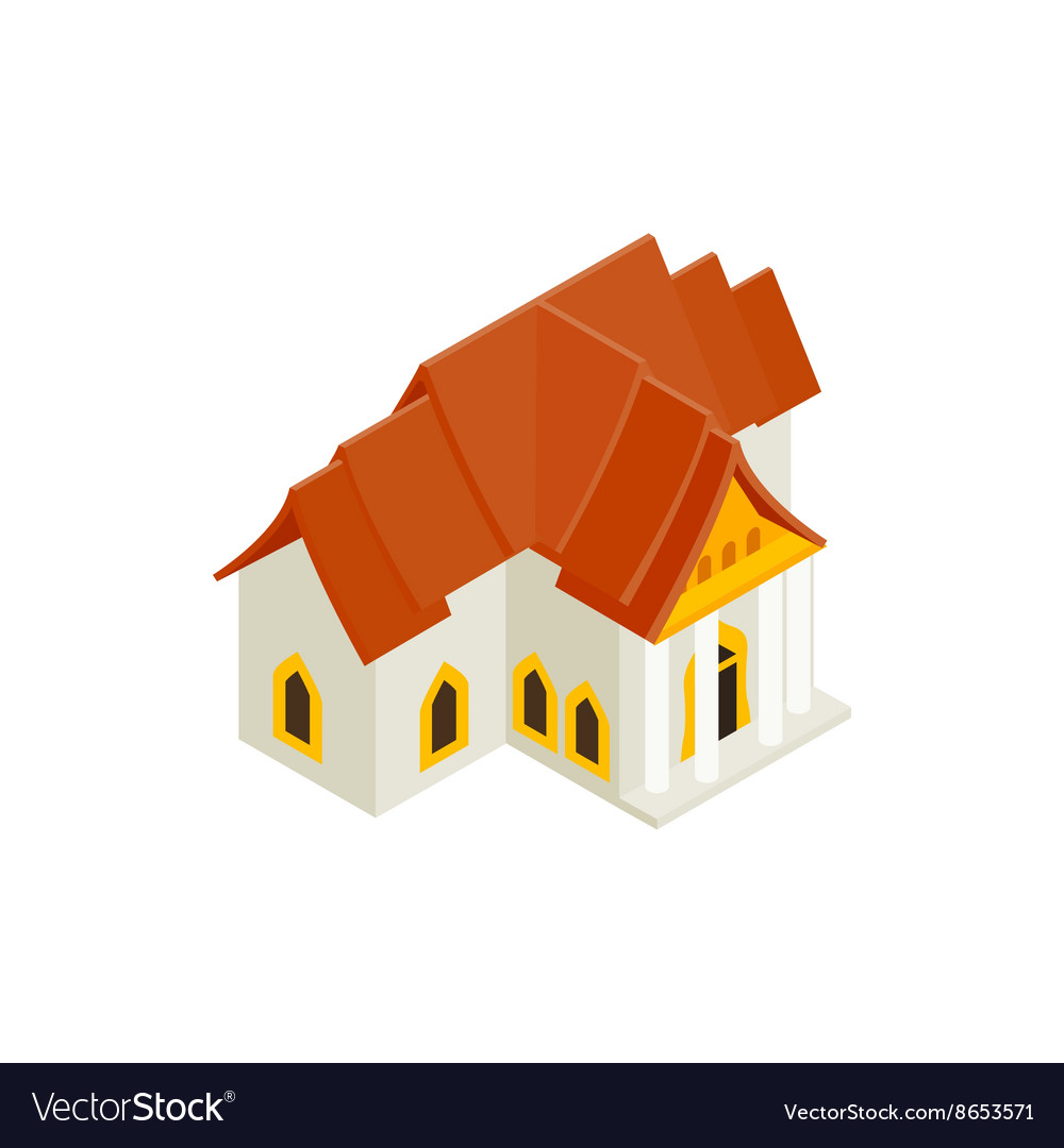 Thai traditional house icon isometric 3d style vector