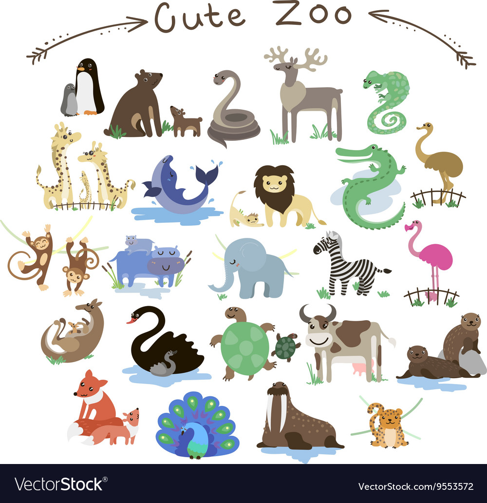 Set of cute zoo animals a lot of different vector