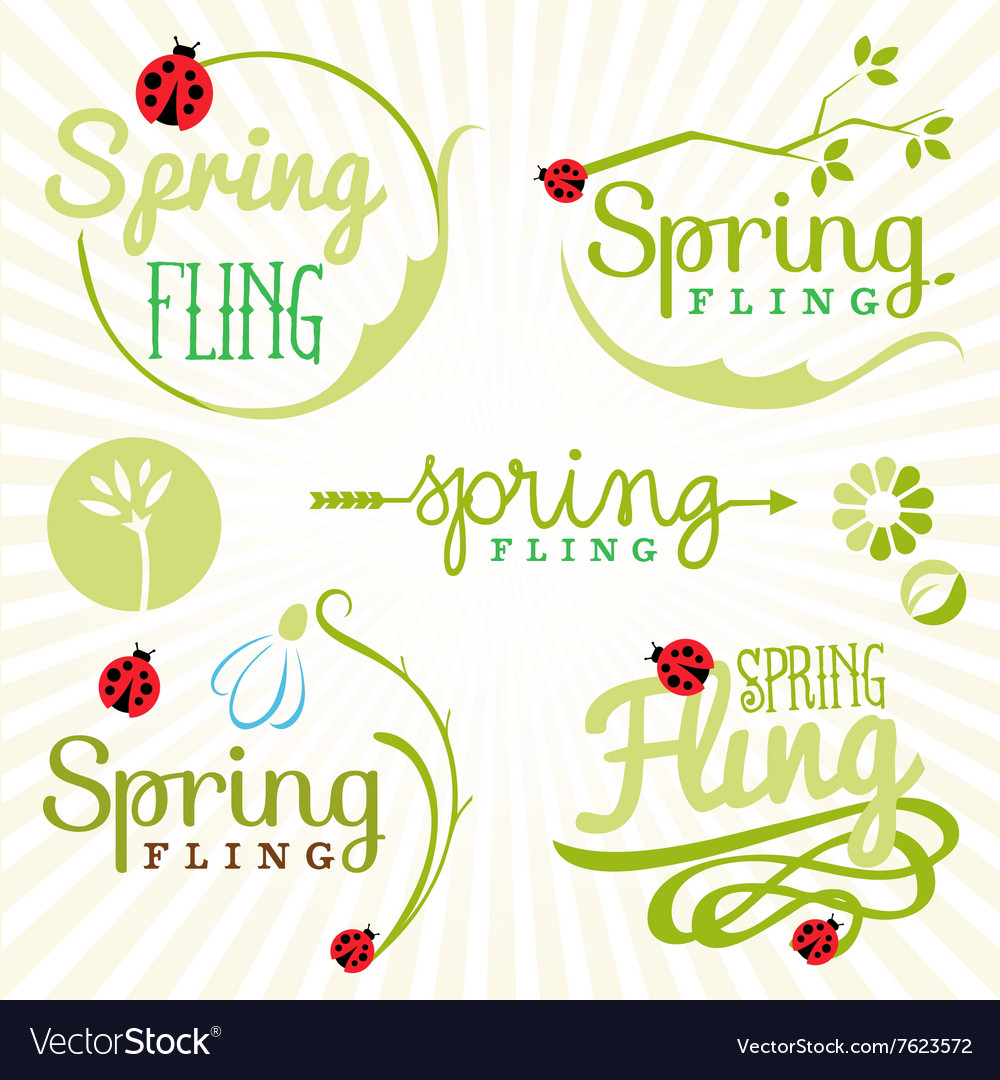 Spring fling typography elements in vintage style vector