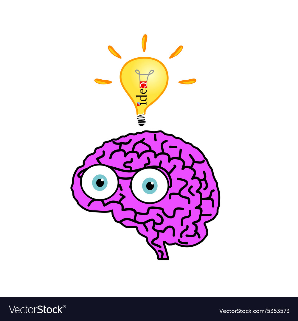 Brain with idea bulb color vector