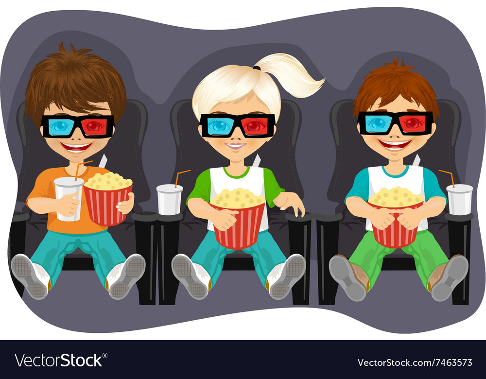 Smiling kids with popcorn watching 3d movie vector