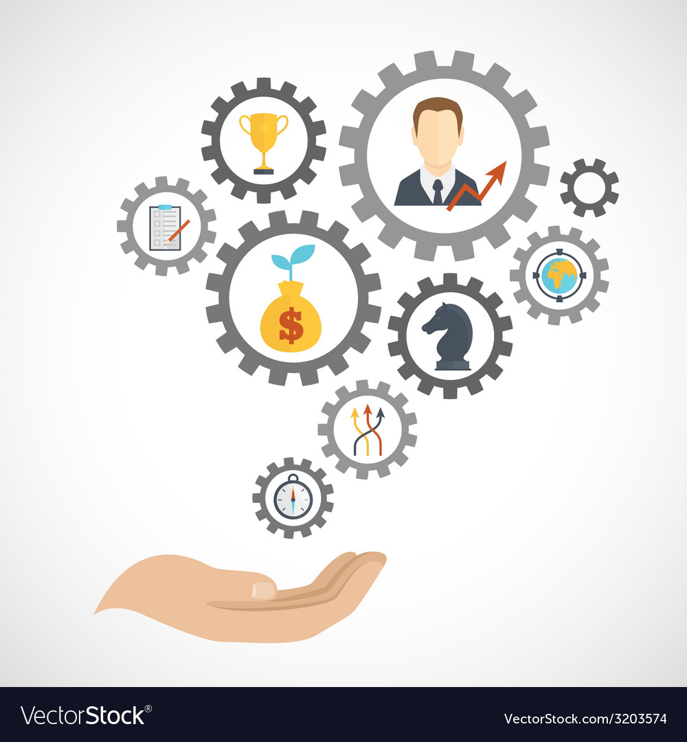 Business strategy planning icon flat vector