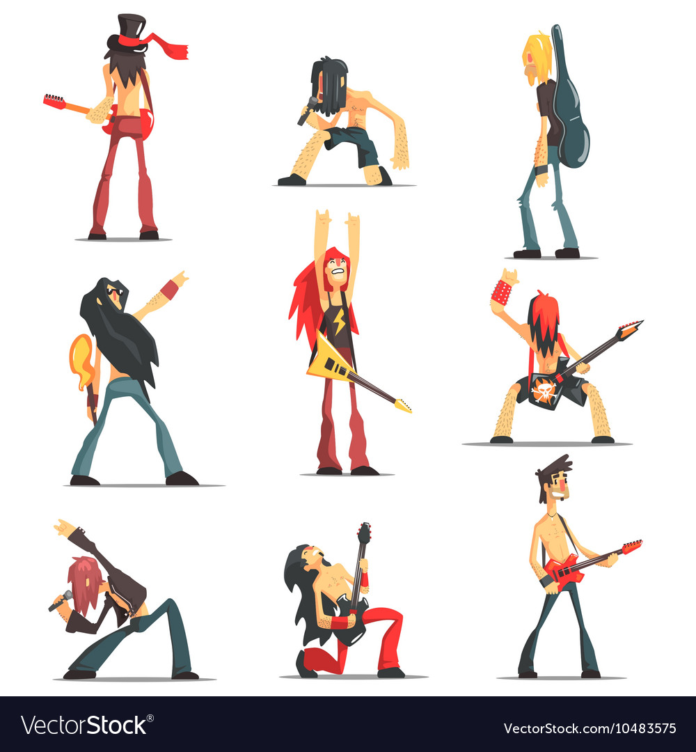 Rock band members funny characters set vector