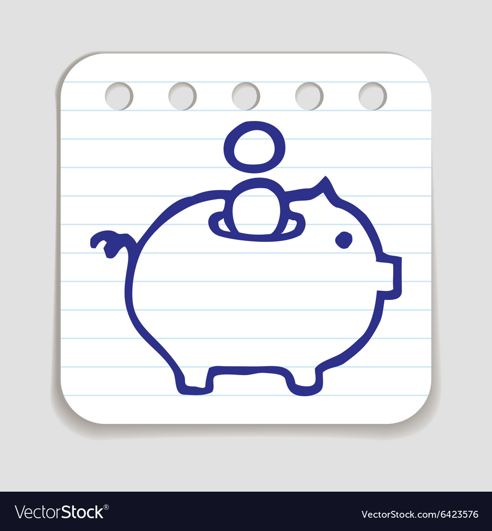 Doodle piggy bank icon vector