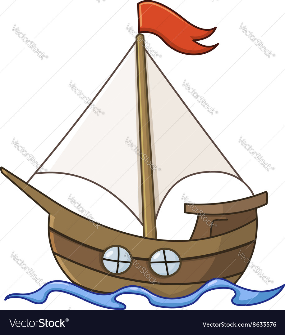 Sailboat cartoon vector