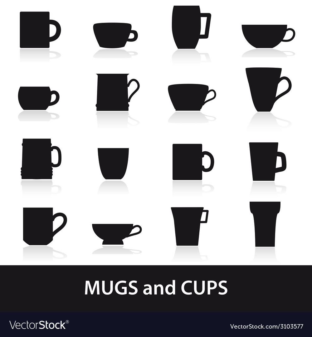Mugs and cups black silhouette icons set eps10 vector