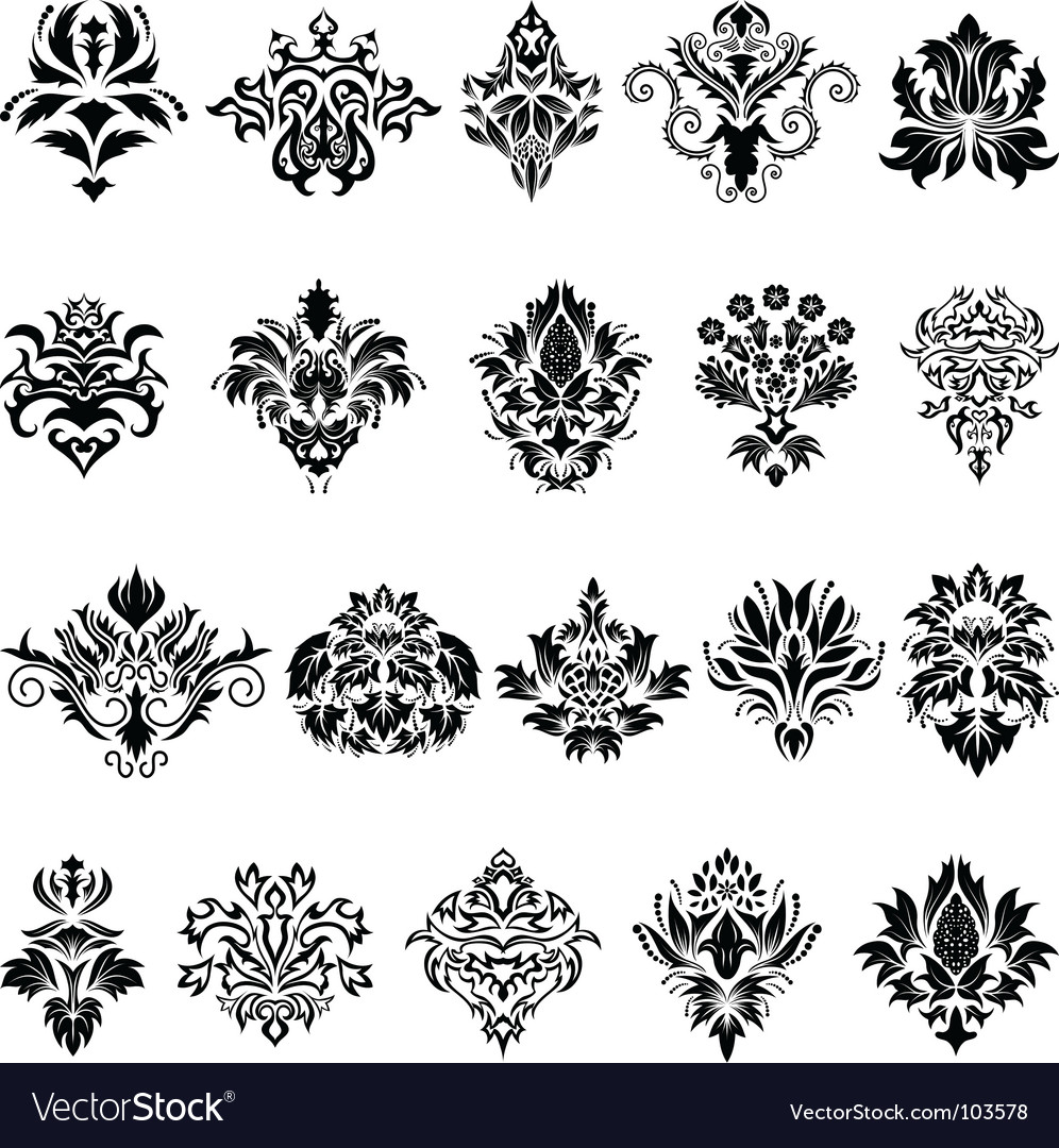 Damask emblem set vector