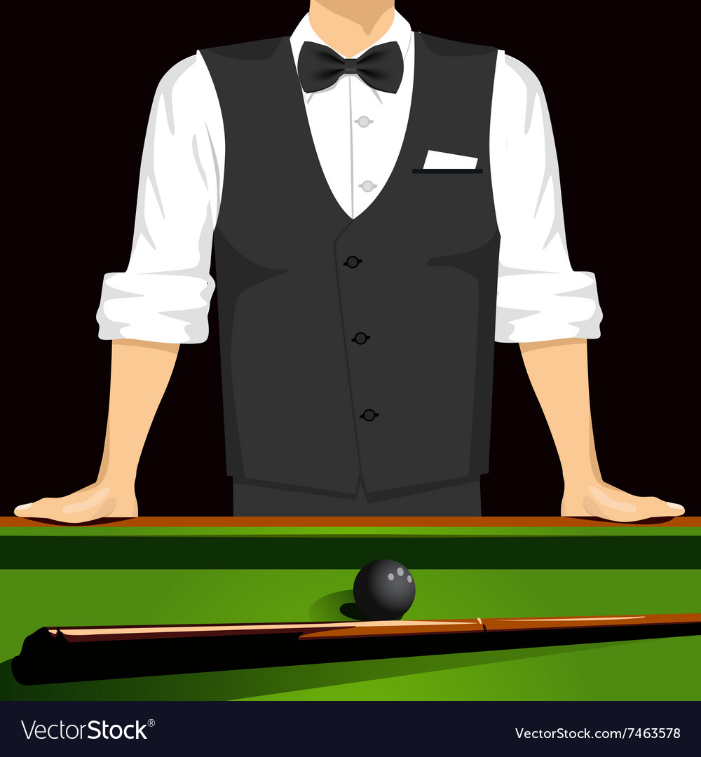 Man leaning on a pool table vector