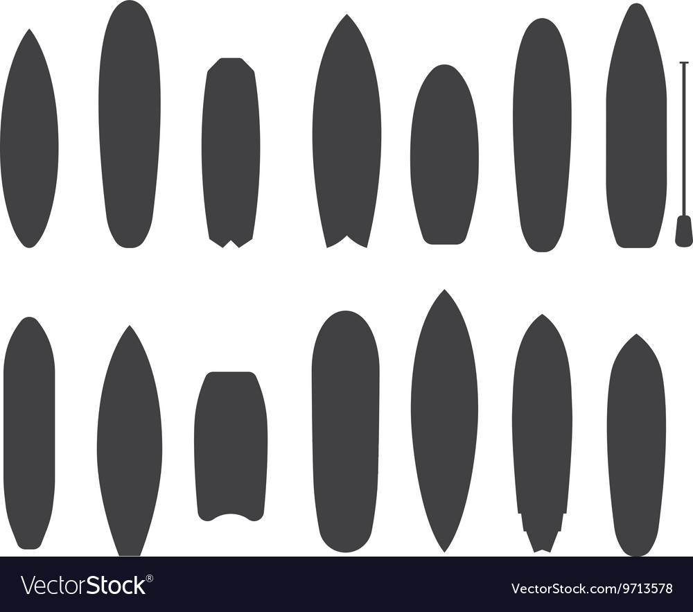 Surfboard types outline icons vector