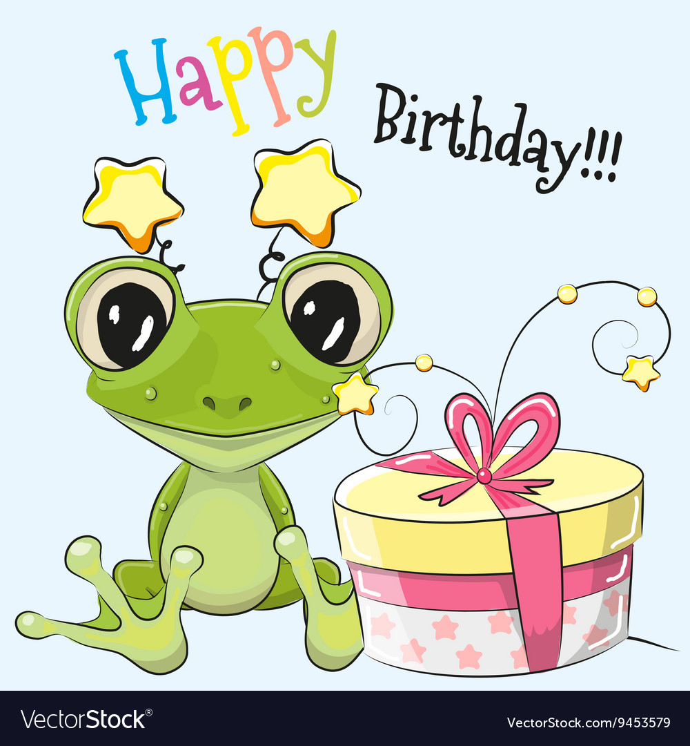 Frog with gift vector